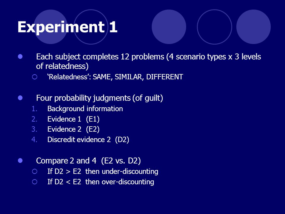 Experiment 1 Each subject completes 12 problems (4 scenario types x 3 levels of relatedness)  'Relatedness': SAME, SIMILAR, DIFFERENT Four probability judgments (of guilt) 1.Background information 2.Evidence 1 (E1) 3.Evidence 2 (E2) 4.Discredit evidence 2 (D2) Compare 2 and 4 (E2 vs.