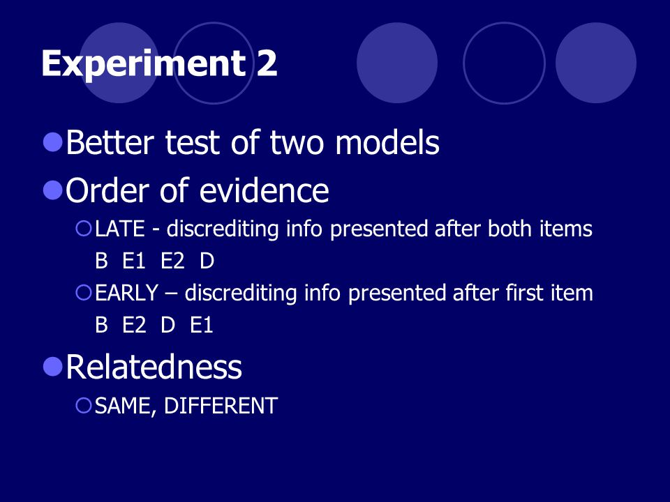 Experiment 2 Better test of two models Order of evidence  LATE - discrediting info presented after both items B E1 E2 D  EARLY – discrediting info p