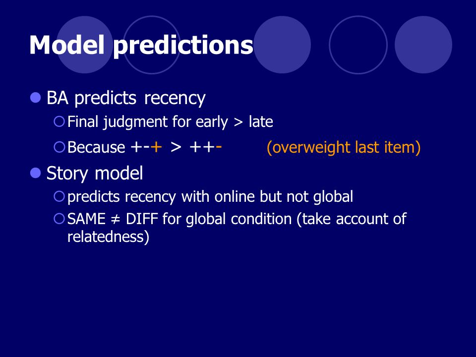 Model predictions BA predicts recency  Final judgment for early > late  Because +-+ > ++- (overweight last item) Story model  predicts recency with online but not global  SAME ≠ DIFF for global condition (take account of relatedness)