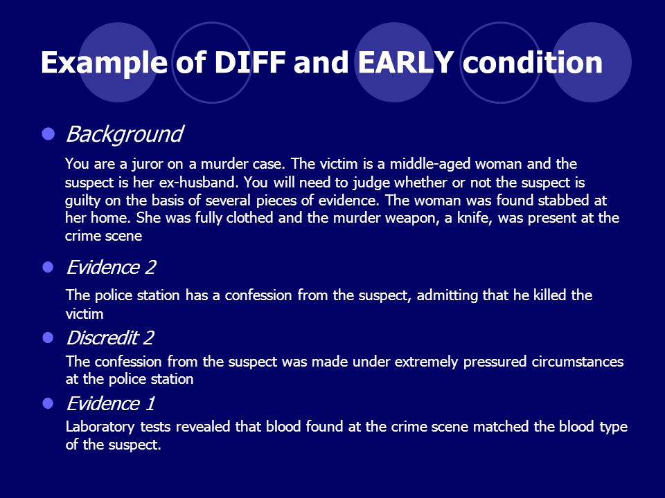 Example of DIFF and EARLY condition Background You are a juror on a murder case.