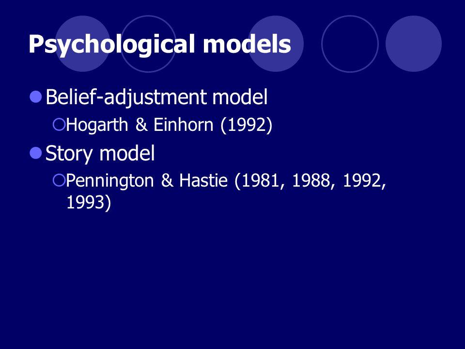 Psychological models Belief-adjustment model  Hogarth & Einhorn (1992) Story model  Pennington & Hastie (1981, 1988, 1992, 1993)
