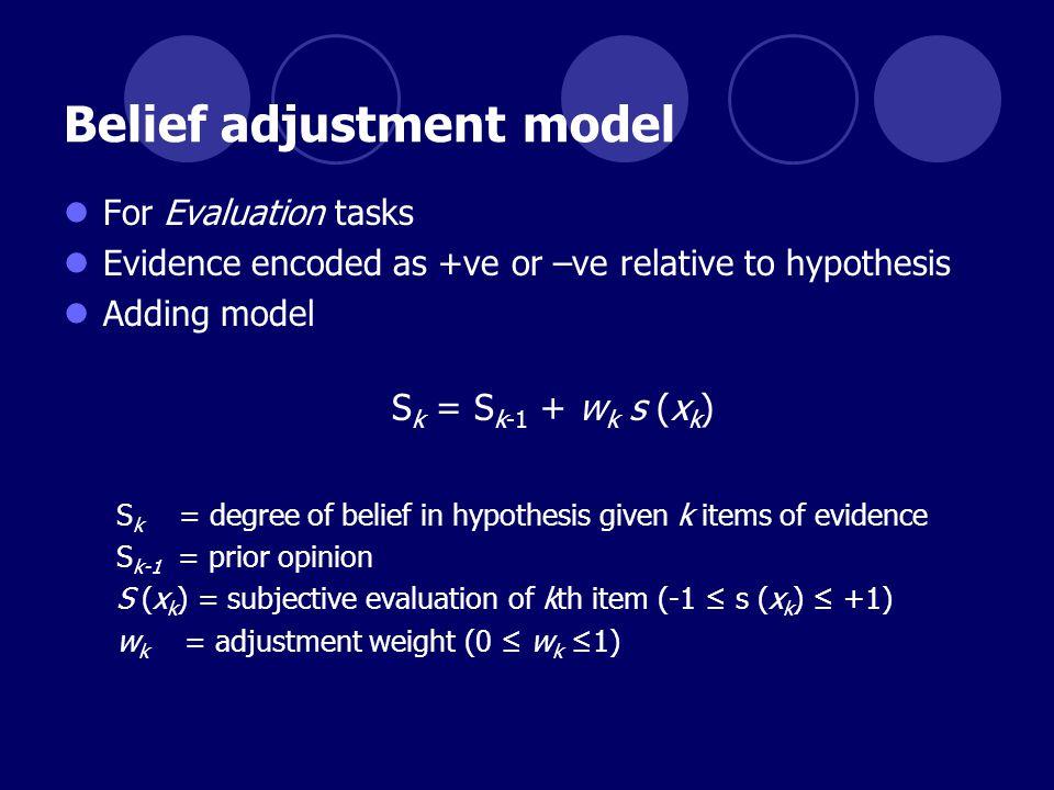 Belief adjustment model For Evaluation tasks Evidence encoded as +ve or –ve relative to hypothesis Adding model S k = S k-1 + w k s (x k ) S k = degre