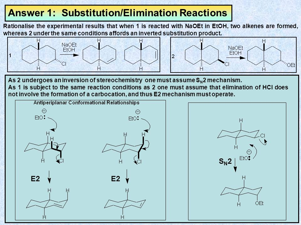 Exercise 1: Substitution/Elimination Reactions Rationalise the experimental results that when 1 is reacted with NaOEt in EtOH, two alkenes are formed, whereas 2 under the same conditions affords an inverted substitution product.