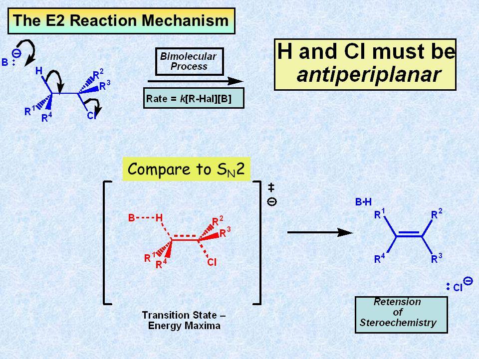 Cyclohexane Rings – E2 Two C-H bonds are antiperiplanar to the C-Cl bond