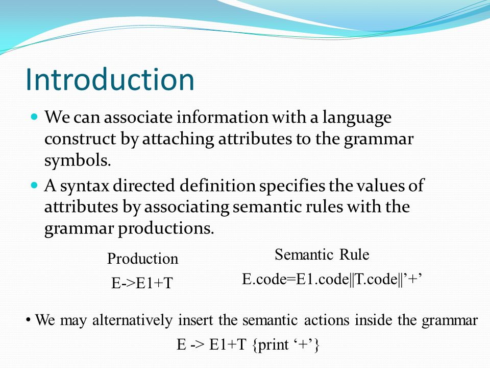 Introduction We can associate information with a language construct by attaching attributes to the grammar symbols.