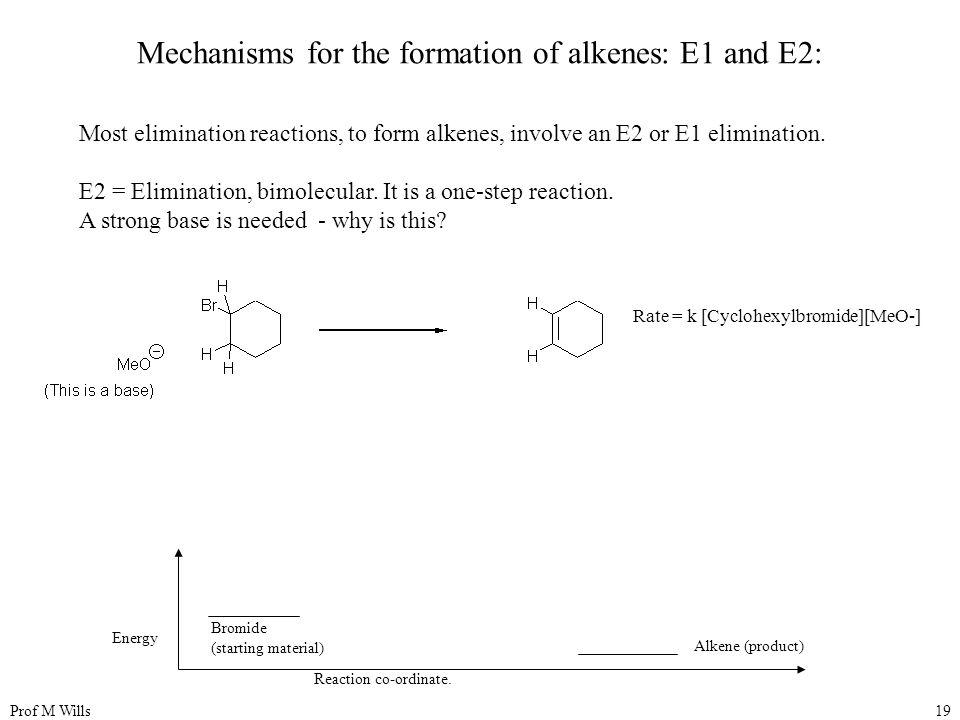 Prof M Wills19 Mechanisms for the formation of alkenes: E1 and E2: Most elimination reactions, to form alkenes, involve an E2 or E1 elimination. E2 =