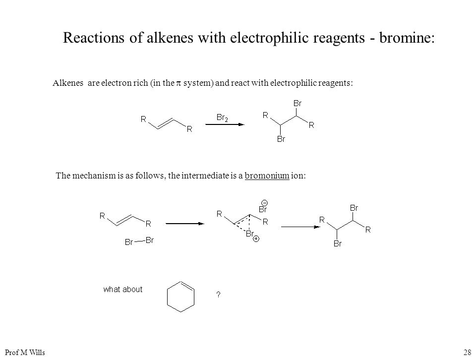 Prof M Wills28 Reactions of alkenes with electrophilic reagents - bromine: Alkenes are electron rich (in the  system) and react with electrophilic re