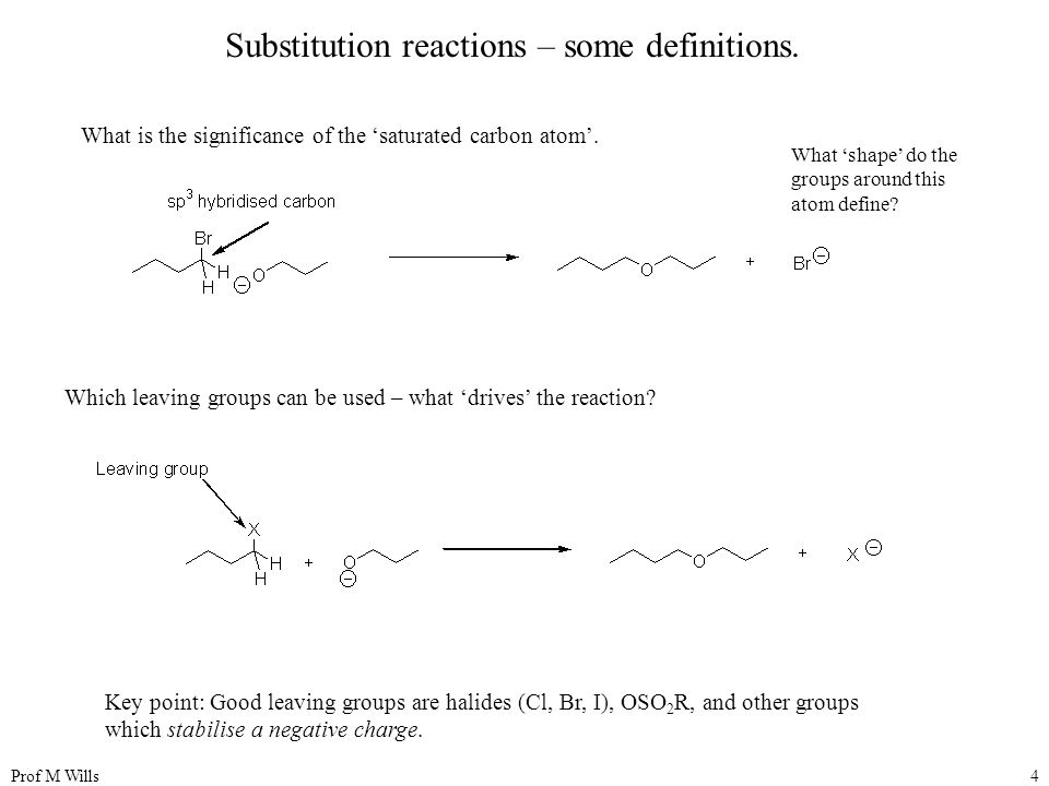 Prof M Wills4 Substitution reactions – some definitions. What is the significance of the 'saturated carbon atom'. What 'shape' do the groups around th