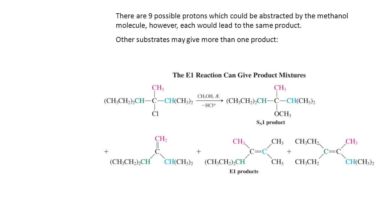 There are 9 possible protons which could be abstracted by the methanol molecule, however, each would lead to the same product. Other substrates may gi