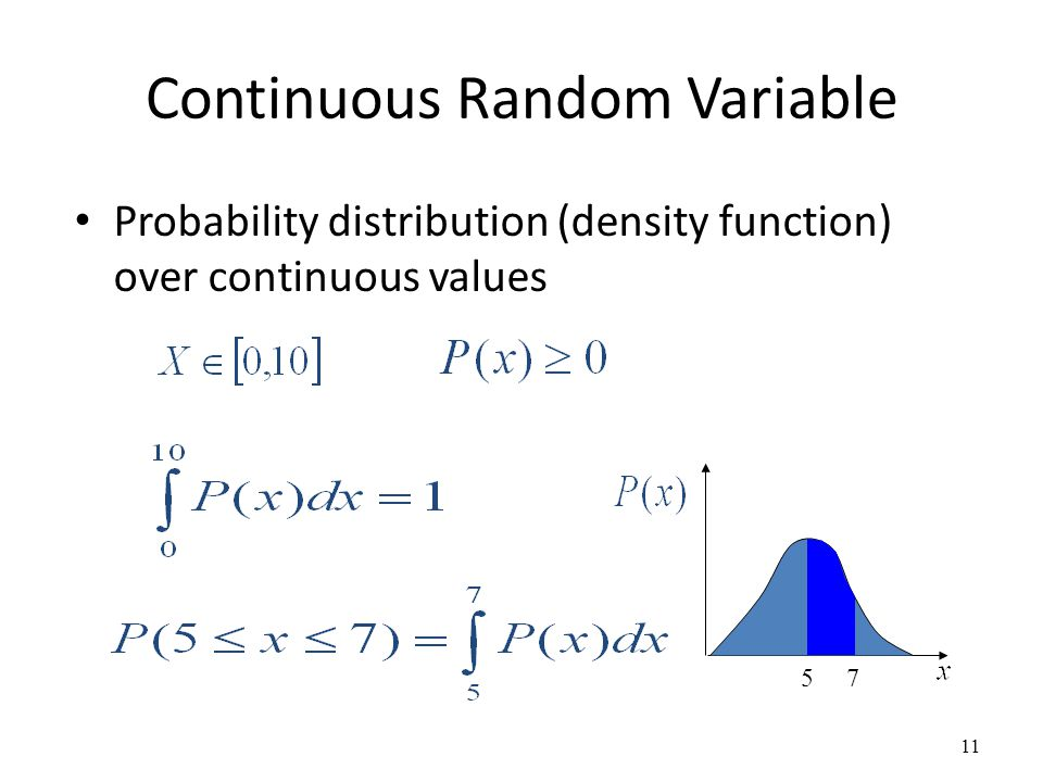 Continuous Random Variable Probability distribution (density function) over continuous values 11 5 7