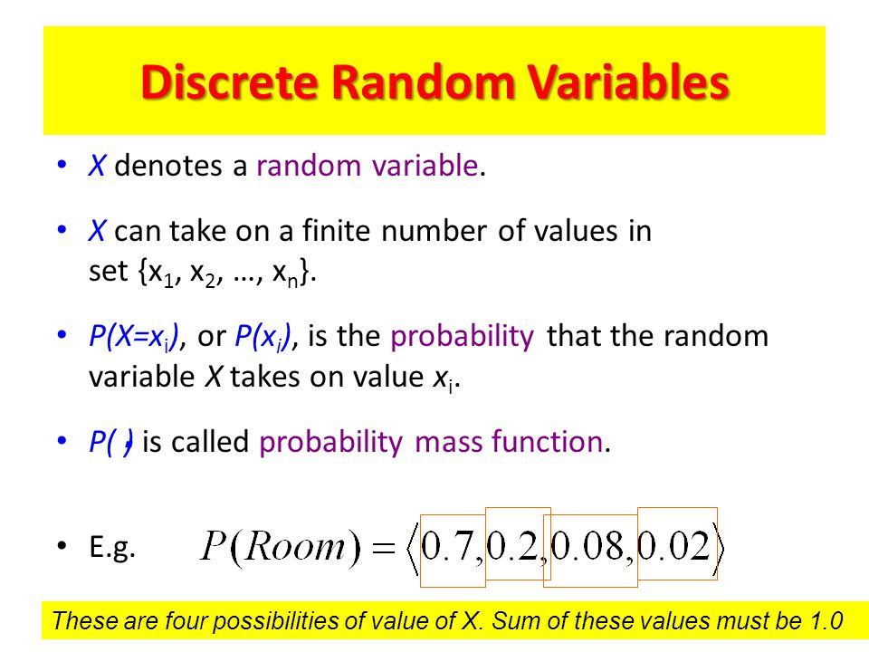 Discrete Random Variables X denotes a random variable. X can take on a finite number of values in set {x 1, x 2, …, x n }. P(X=x i ), or P(x i ), is t
