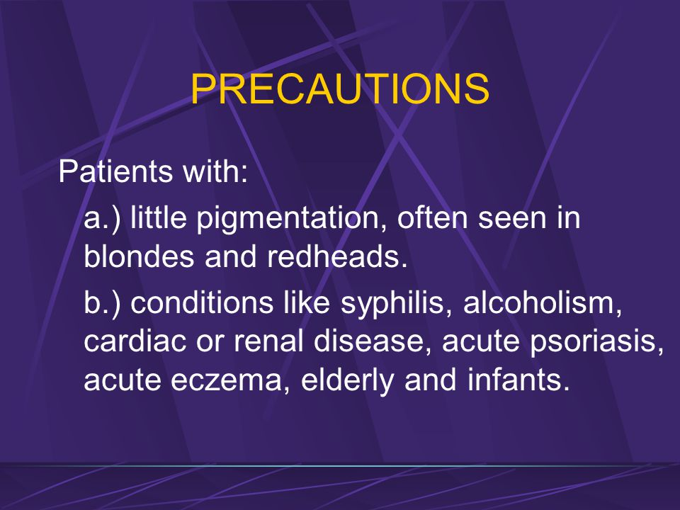 CONTRAINDICATIONS 7. Acute febrile illness (pulmonary tuberculosis, severe cardiac involvement, acute diabetes mellitus) 8. Recent skin graft