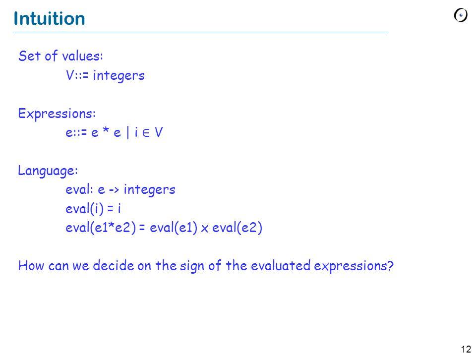 12 Intuition Set of values: V::= integers Expressions: e::= e * e | i ∈ V Language: eval: e -> integers eval(i) = i eval(e1*e2) = eval(e1) x eval(e2) How can we decide on the sign of the evaluated expressions