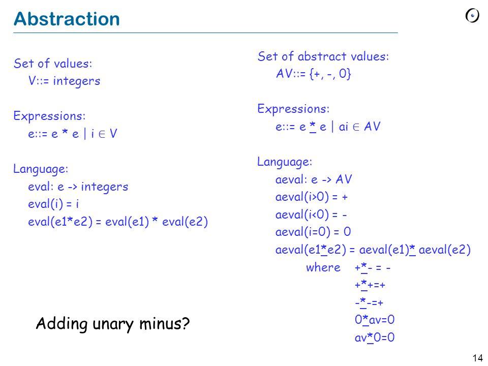14 Abstraction Set of values: V::= integers Expressions: e::= e * e | i ∈ V Language: eval: e -> integers eval(i) = i eval(e1*e2) = eval(e1) * eval(e2) Set of abstract values: AV::= {+, -, 0} Expressions: e::= e * e | ai ∈ AV Language: aeval: e -> AV aeval(i>0) = + aeval(i<0) = - aeval(i=0) = 0 aeval(e1*e2) = aeval(e1)* aeval(e2) where +*- = - +*+=+ -*-=+ 0*av=0 av*0=0 Adding unary minus