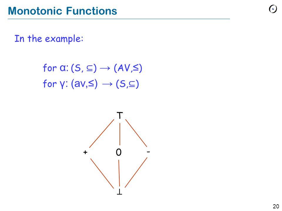 20 Monotonic Functions In the example: for α: (S, ⊆ ) → (AV, ≤ ) for γ:(av,≤) → (S, ⊆ ) T + 0 - ⊥
