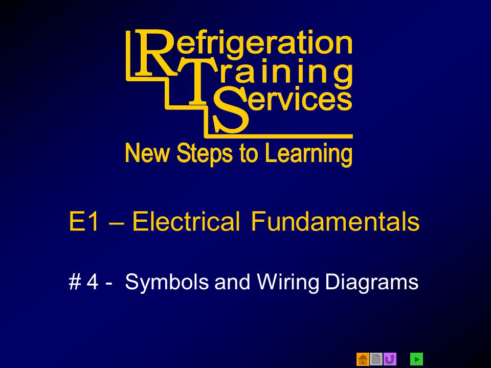  © 2005 Refrigeration Training Services - E1#4 Symbols and Wiring Diagrams v1.2 2 Electrical Loads Loads –Consume electricity –Do work Examples: –Motors –Solenoids –Heaters –Lights