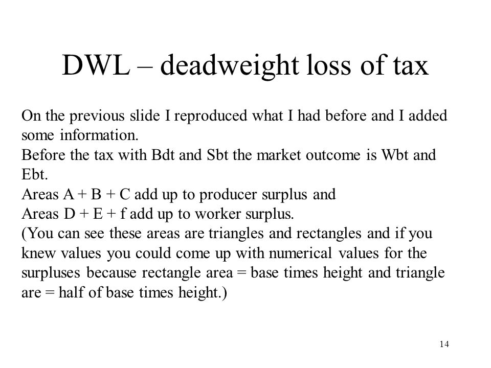 DWL – deadweight loss of tax 14 On the previous slide I reproduced what I had before and I added some information.