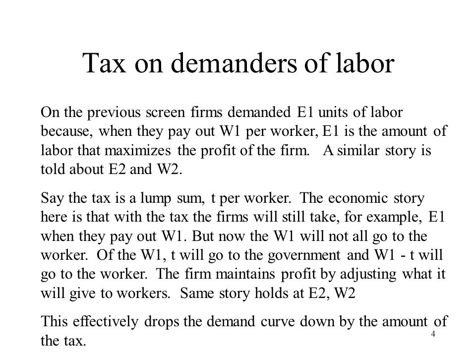 Tax on demanders of labor On the previous screen firms demanded E1 units of labor because, when they pay out W1 per worker, E1 is the amount of labor that maximizes the profit of the firm.