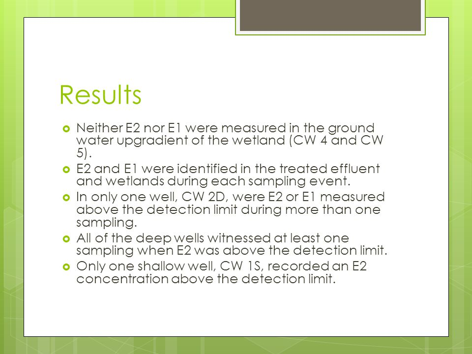 Results  Neither E2 nor E1 were measured in the ground water upgradient of the wetland (CW 4 and CW 5).