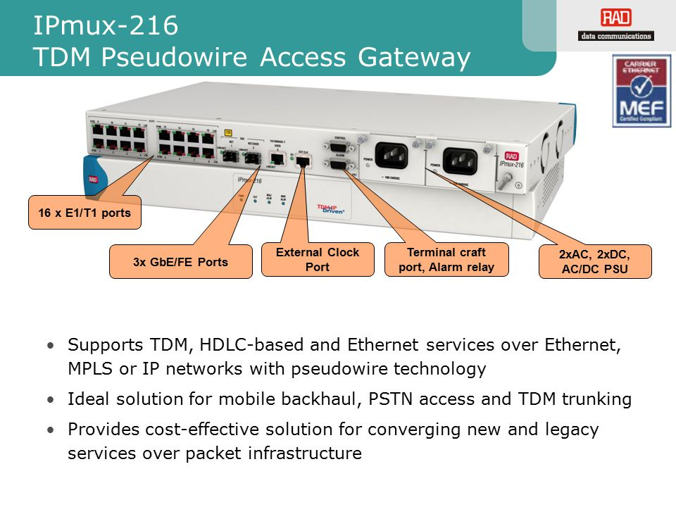 IPmux-216 TDM Pseudowire Access Gateway Supports TDM, HDLC-based and Ethernet services over Ethernet, MPLS or IP networks with pseudowire technology I
