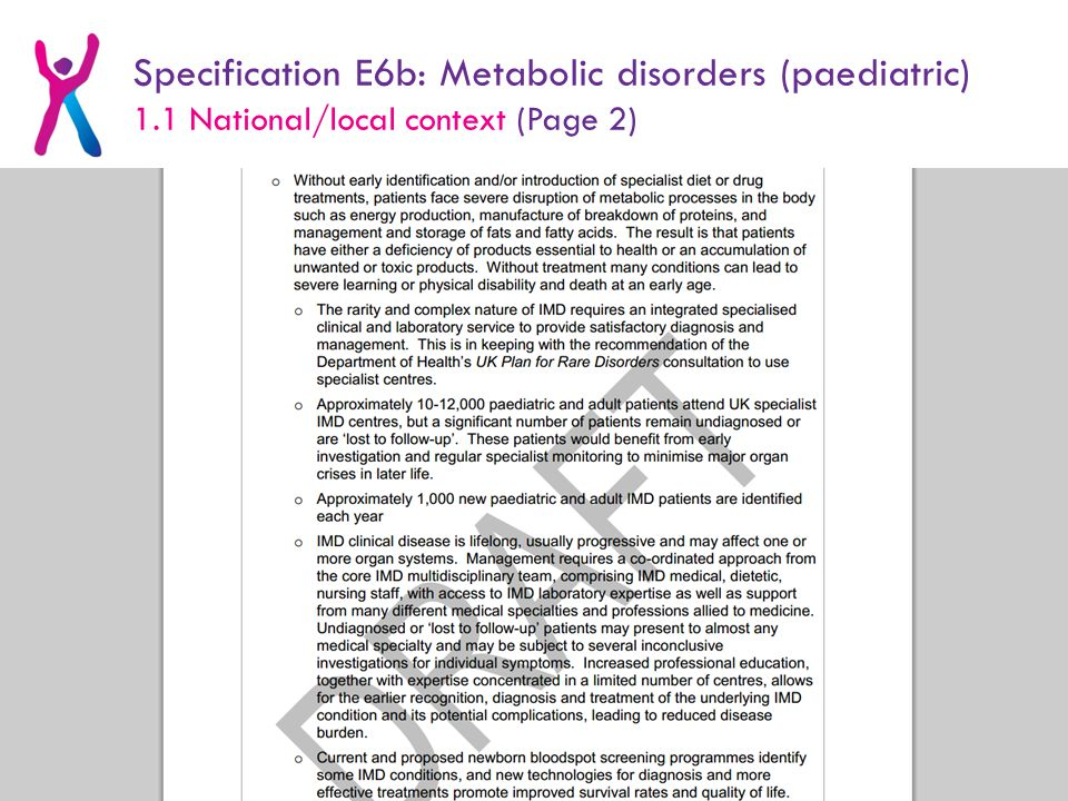 Specification E6b: Metabolic disorders (paediatric) 1.1 National/local context (Page 2)