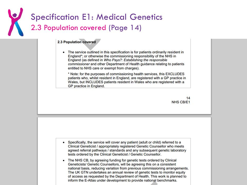Specification E1: Medical Genetics 2.3 Population covered (Page 14)