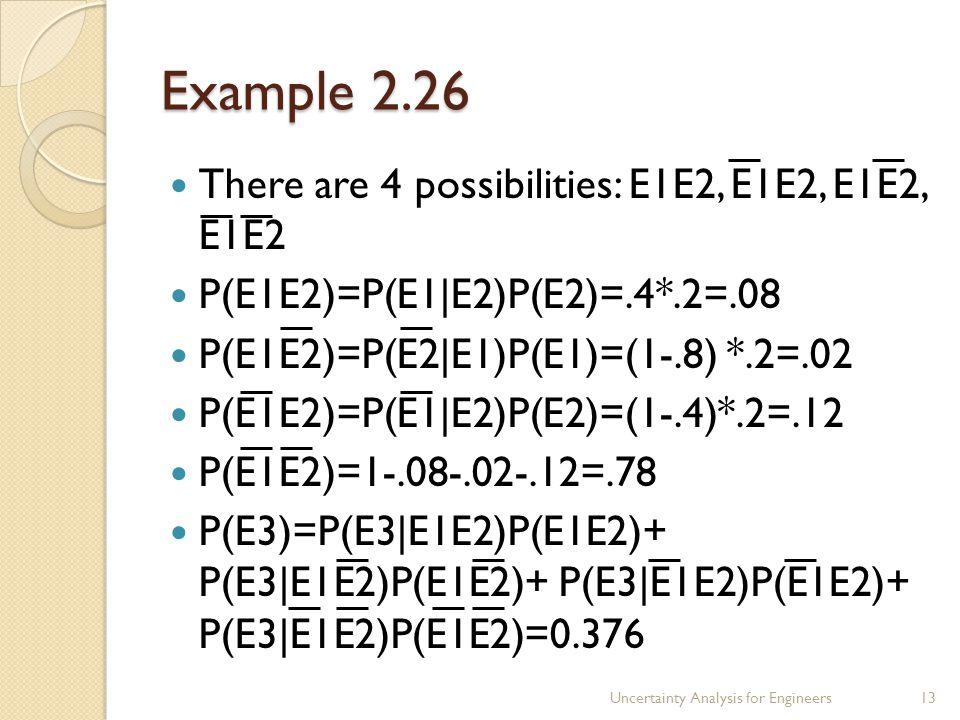 Example 2.26 There are 4 possibilities: E1E2, E1E2, E1E2, E1E2 P(E1E2)=P(E1|E2)P(E2)=.4*.2=.08 P(E1E2)=P(E2|E1)P(E1)=(1-.8) *.2=.02 P(E1E2)=P(E1|E2)P(E2)=(1-.4)*.2=.12 P(E1E2)=1-.08-.02-.12=.78 P(E3)=P(E3|E1E2)P(E1E2)+ P(E3|E1E2)P(E1E2)+ P(E3|E1E2)P(E1E2)+ P(E3|E1E2)P(E1E2)=0.376 Uncertainty Analysis for Engineers13