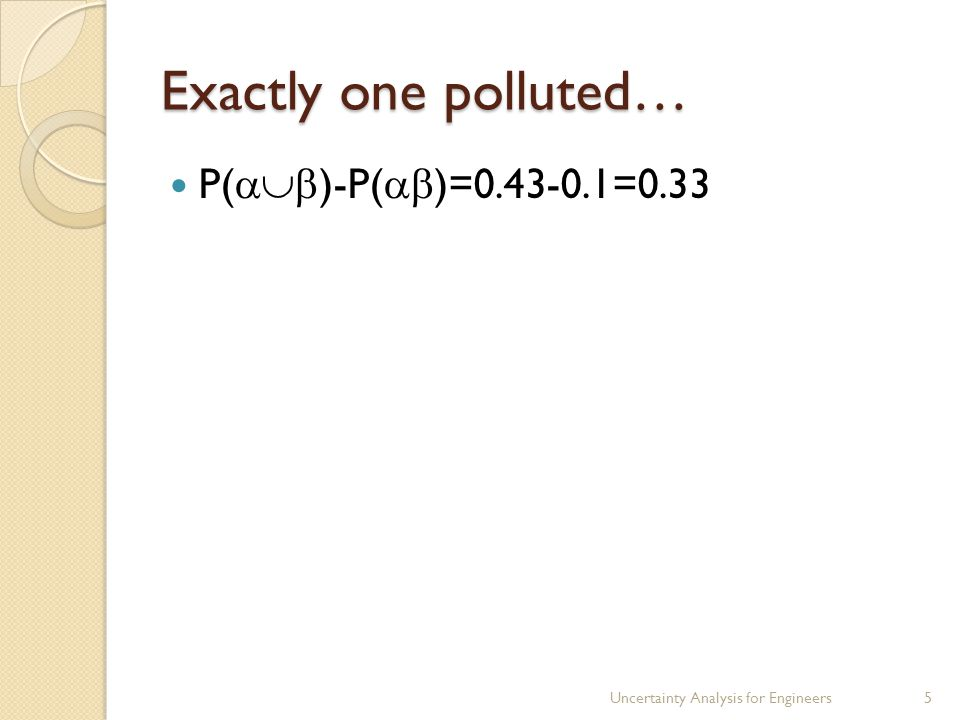 Exactly one polluted… P(  )-P(  )=0.43-0.1=0.33 Uncertainty Analysis for Engineers5