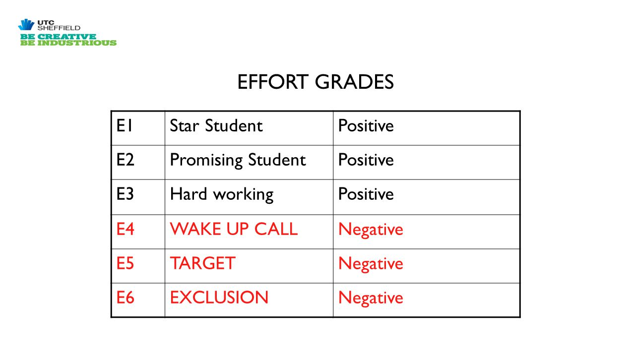 E1Star StudentPositive E2Promising StudentPositive E3Hard workingPositive E4WAKE UP CALLNegative E5TARGETNegative E6EXCLUSIONNegative EFFORT GRADES