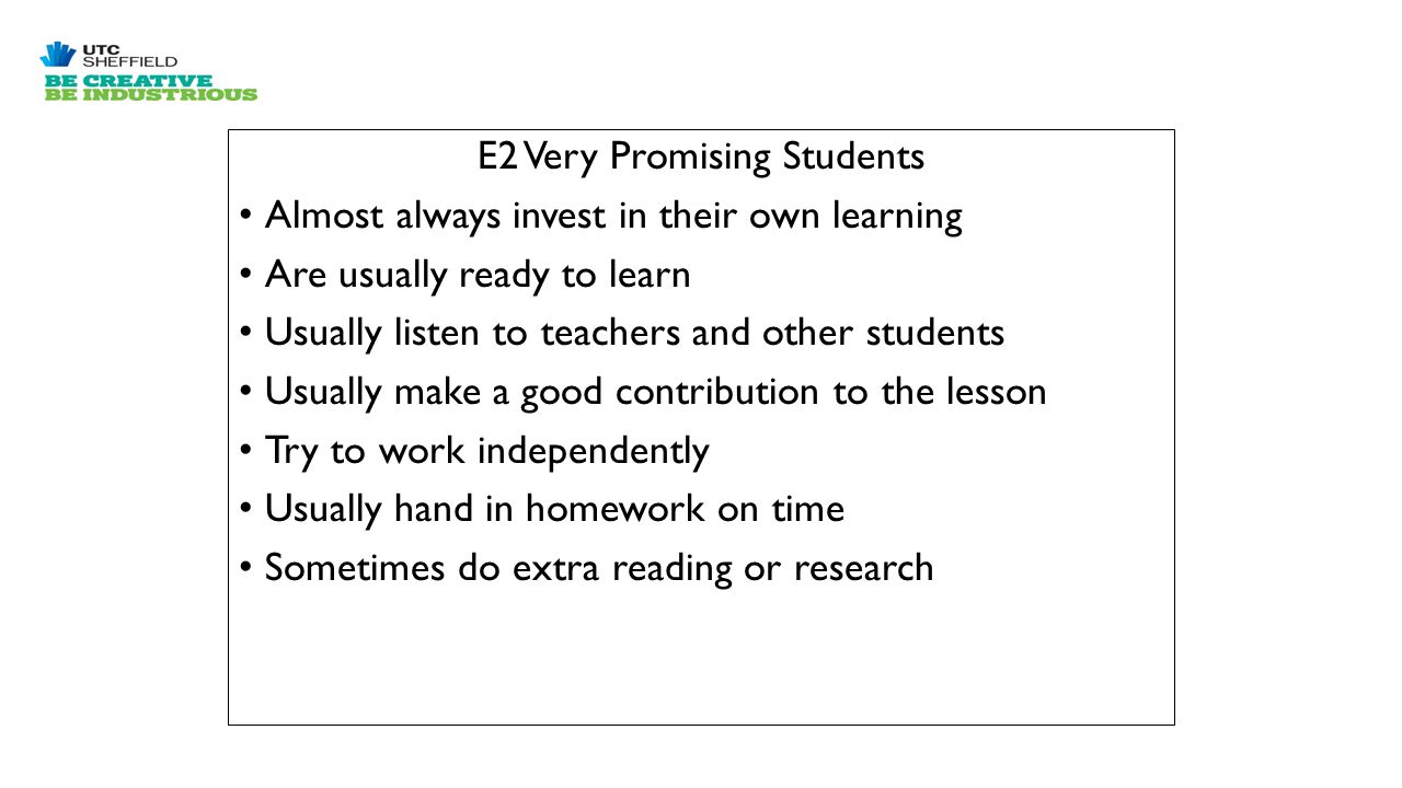 E2 Very Promising Students Almost always invest in their own learning Are usually ready to learn Usually listen to teachers and other students Usually