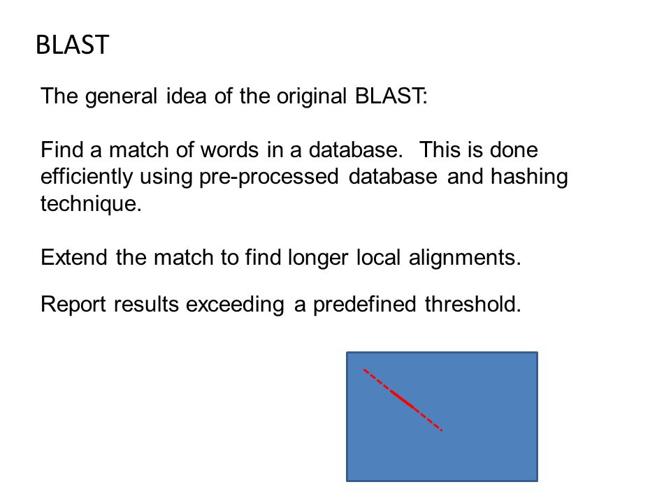 BLAST The general idea of the original BLAST: Find a match of words in a database.