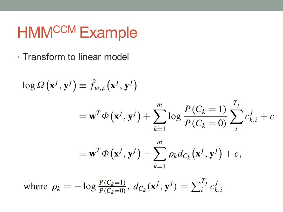 HMM CCM Example Transform to linear model