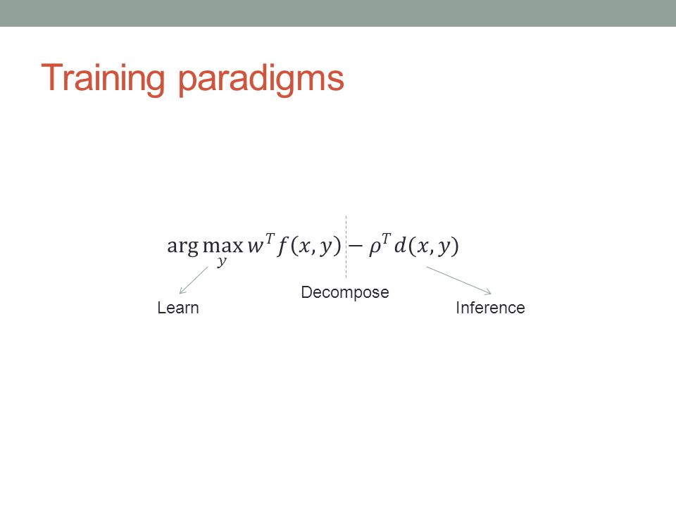 Training paradigms Decompose LearnInference