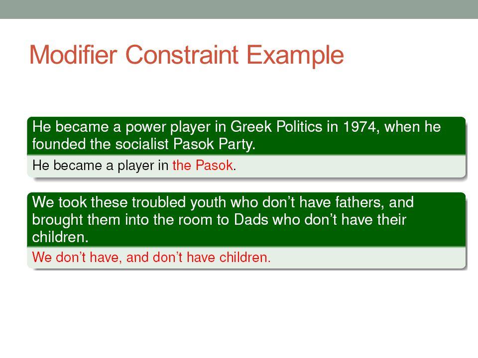 Modifier Constraint Example