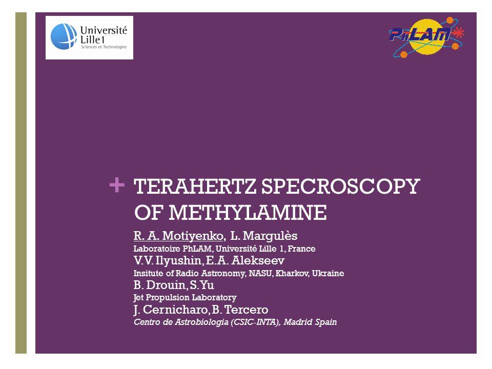 + Interstellar methylamine  Precursor of glycine NH 2 CH 2 COOH CH 3 NH 2 +CO 2 mixture irradiated by UV: Bossa et al.