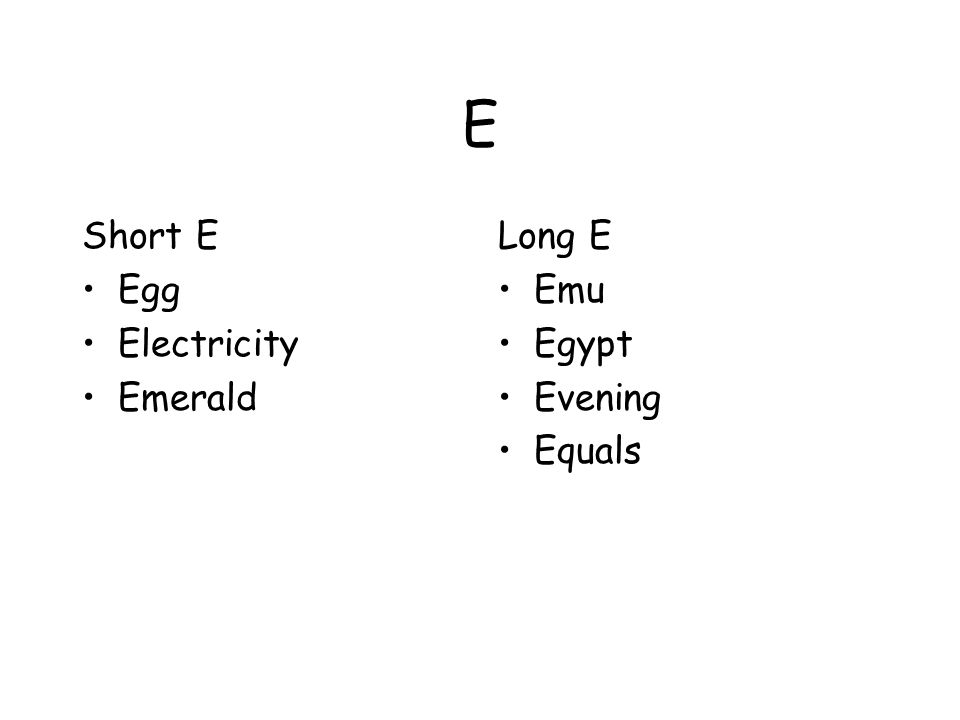 E Short E Egg Electricity Emerald Long E Emu Egypt Evening Equals