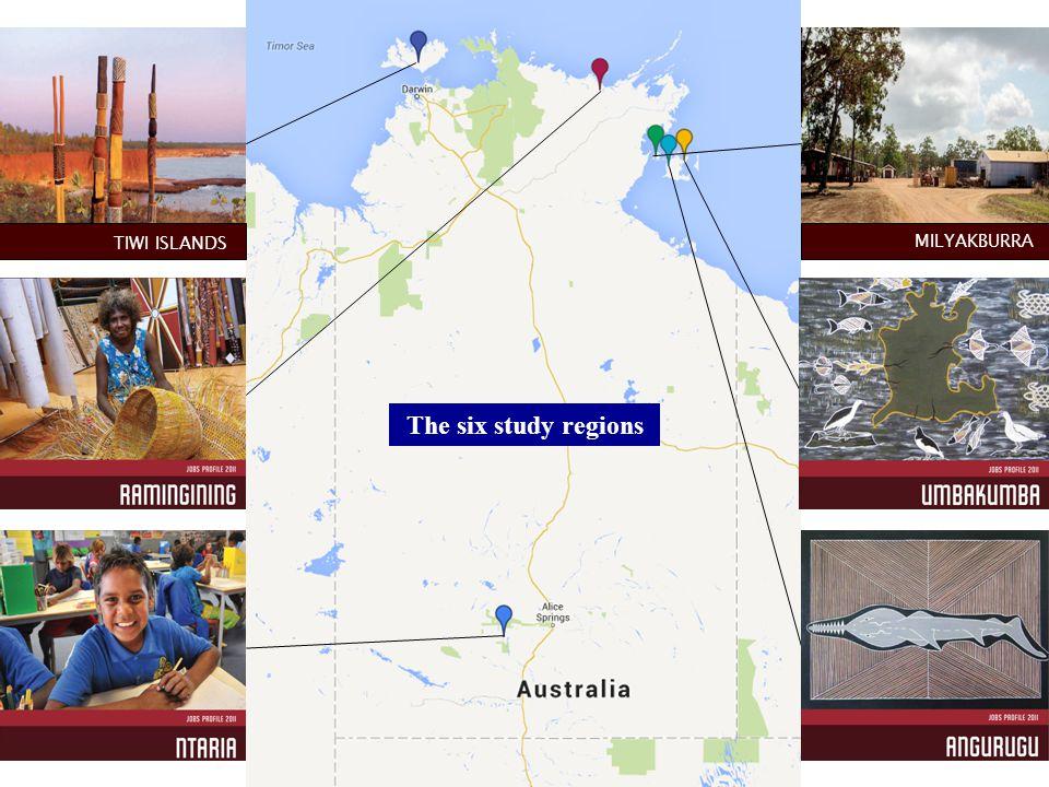 The six study regions MILYAKBURR A TIWI ISLANDS