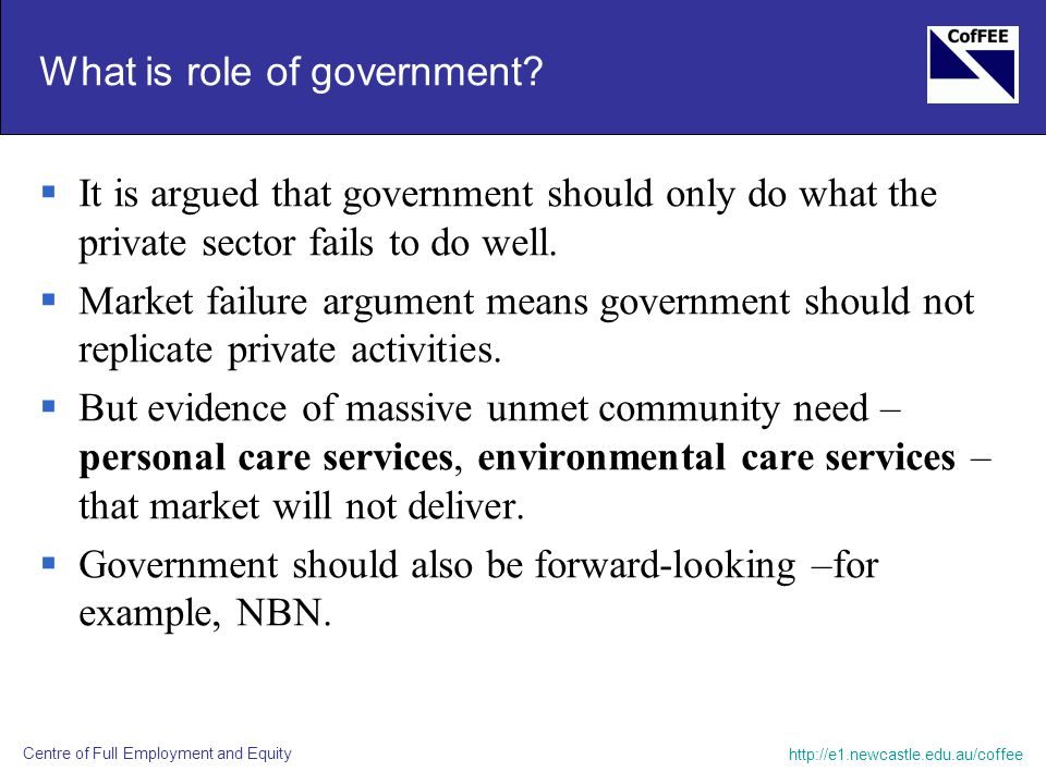 http://e1.newcastle.edu.au/coffee Centre of Full Employment and Equity What is role of government.