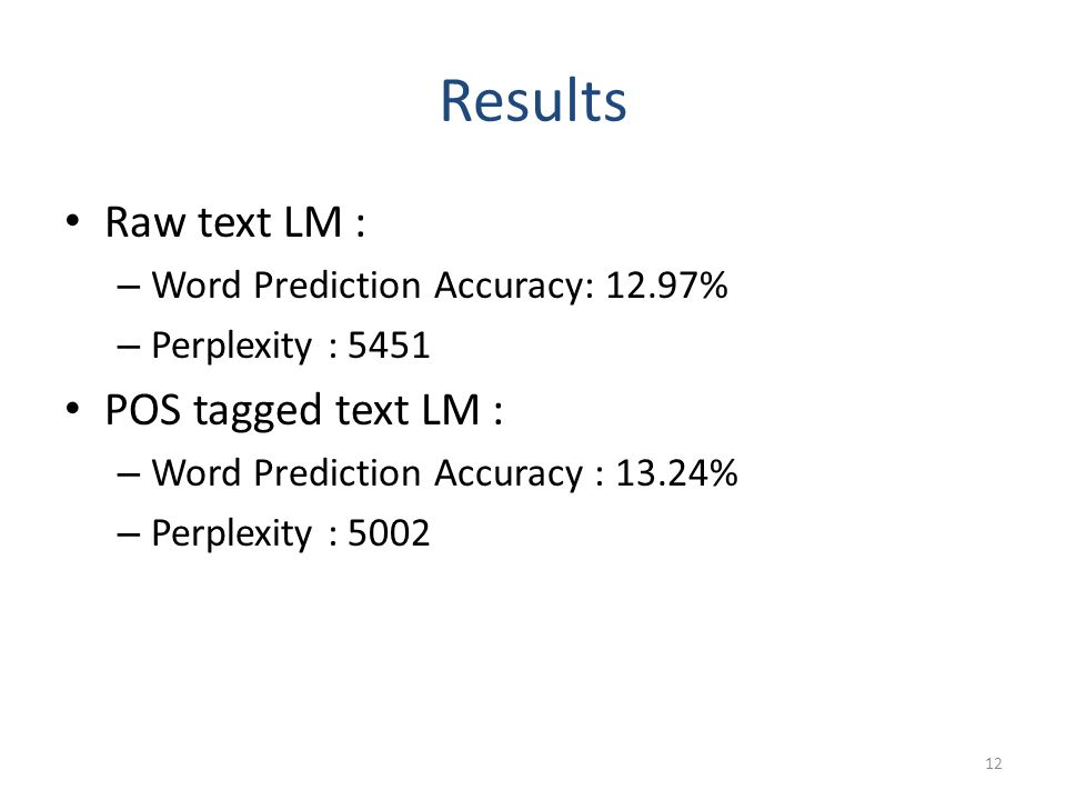 Results Raw text LM : – Word Prediction Accuracy: 12.97% – Perplexity : 5451 POS tagged text LM : – Word Prediction Accuracy : 13.24% – Perplexity : 5002 12
