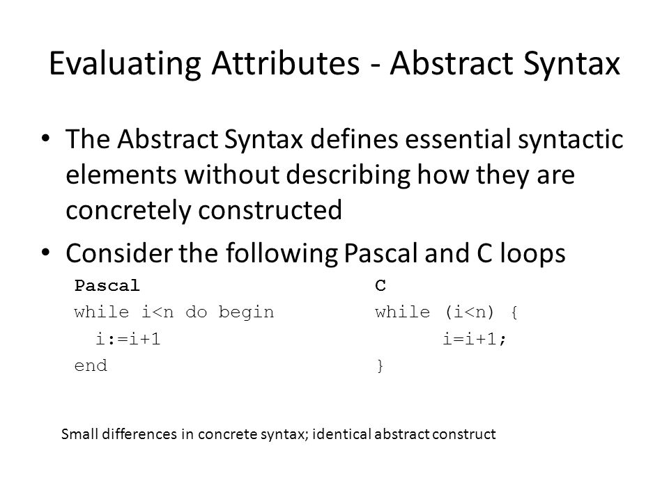 Evaluating Attributes - Abstract Syntax The Abstract Syntax defines essential syntactic elements without describing how they are concretely constructed Consider the following Pascal and C loops PascalC while i<n do beginwhile (i<n) { i:=i+1i=i+1; end} Small differences in concrete syntax; identical abstract construct