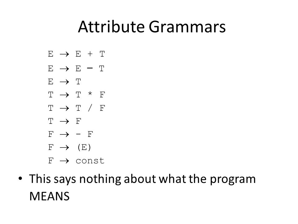 Attribute Grammars E  E + T E  E – T E  T T  T * F T  T / F T  F F  - F F  (E) F  const This says nothing about what the program MEANS