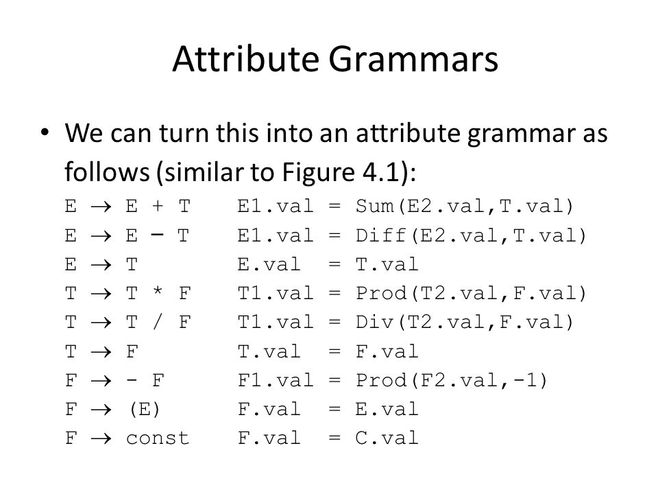 Attribute Grammars We can turn this into an attribute grammar as follows (similar to Figure 4.1): E  E + TE1.val = Sum(E2.val,T.val) E  E – TE1.val = Diff(E2.val,T.val) E  TE.val = T.val T  T * FT1.val = Prod(T2.val,F.val) T  T / FT1.val = Div(T2.val,F.val) T  FT.val = F.val F  - FF1.val = Prod(F2.val,-1) F  (E)F.val = E.val F  constF.val = C.val