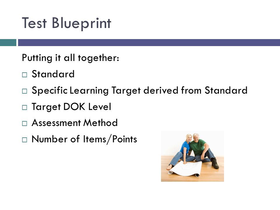 Putting it all together:  Standard  Specific Learning Target derived from Standard  Target DOK Level  Assessment Method  Number of Items/Points T