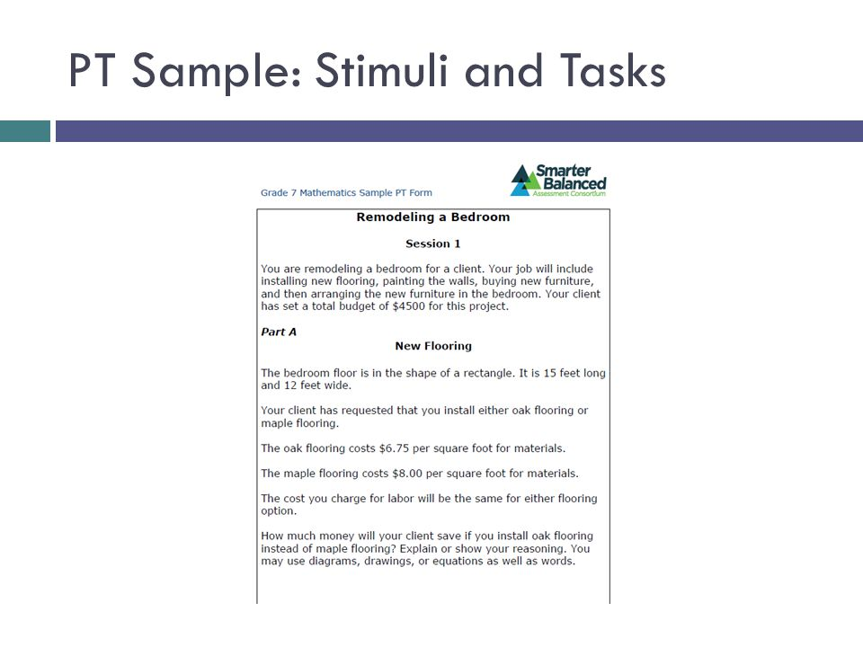 PT Sample: Stimuli and Tasks