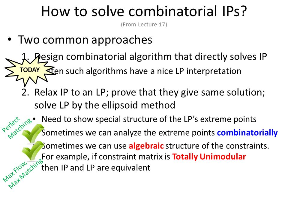 How to solve combinatorial IPs.