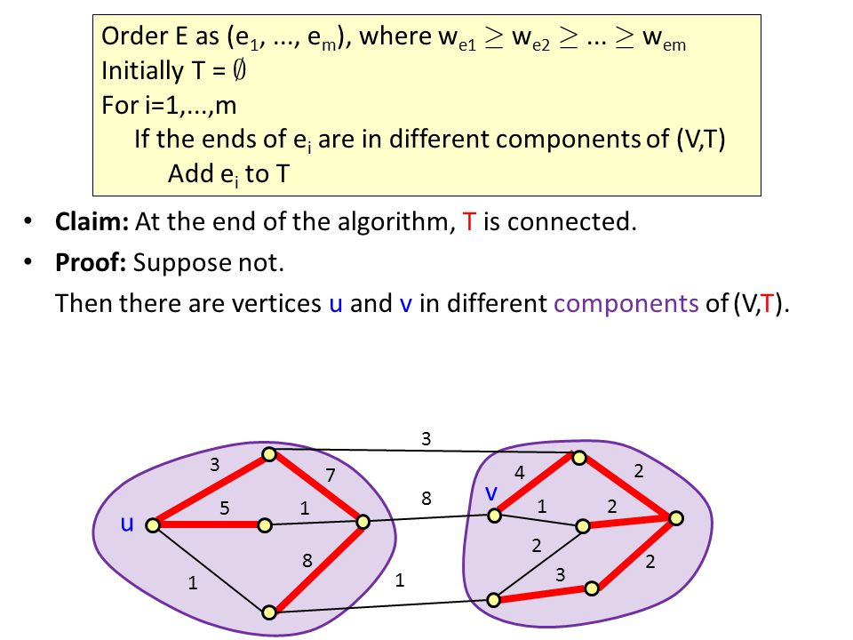 Claim: At the end of the algorithm, T is connected.
