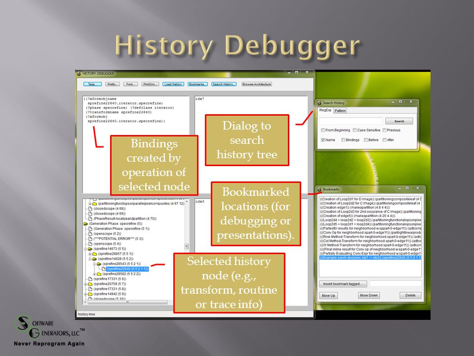 Selected history node (e.g., transform, routine or trace info) Bindings created by operation of selected node Dialog to search history tree Bookmarked locations (for debugging or presentations).