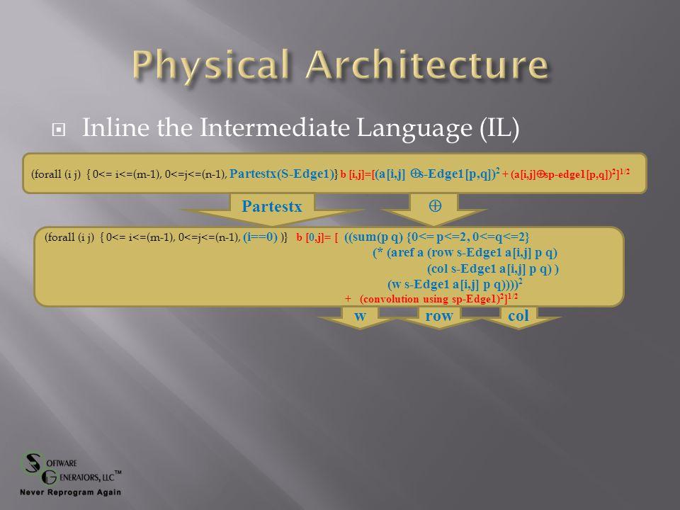  Inline the Intermediate Language (IL) (forall (i j) { 0<= i<=(m-1), 0<=j<=(n-1), Partestx(S-Edge1) } b [i,j]=[ (a[i,j]  s-Edge1[p,q]) 2 + (a[i,j]  sp-edge1[p,q]) 2 ] 1/2 (forall (i j) { 0<= i<=(m-1), 0<=j<=(n-1), (i==0) )} b [0,j]= [ ((sum(p q) {0<= p<=2, 0<=q<=2} (* (aref a (row s-Edge1 a[i,j] p q) (col s-Edge1 a[i,j] p q) ) (w s-Edge1 a[i,j] p q)))) 2 + (convolution using sp-Edge1) 2 ] 1/2 Partestx  rowcolw