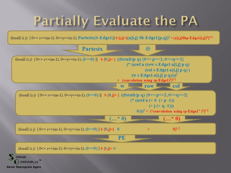 (forall (i j) { 0<= i<=(m-1), 0<=j<=(n-1), Partestx(S-Edge1) } b [i,j]=[ (a[i,j]  s-Edge1[p,q]) 2 + (a[i,j]  sp-Edge1[i,j]) 2 ] 1/2 (forall (i j) { 0<= i<=(m-1), 0<=j<=(n-1), (i==0) )} b [ 0,j]= [ ((forall (p q) {0<= p<=2, 0<=q<=2} (* (aref a (row s-Edge1 a[i,j] p q) (col s-Edge1 a[i,j] p q) ) (w s-Edge1 a[i,j] p q)))) 2 + (convolution using sp-Edge1) 2 ] 1/2 Partestx  (forall (i j) { 0<= i<=(m-1), 0<=j<=(n-1), (i==0) )} b [ 0,j]= [ ((forall (p q) {0<= p<=2, 0<=q<=2} (* (aref a (+ 0 (+ p -1)) (+ j (+ q -1))) 0))) 2 + ( convolution using sp-Edge1 ) 2 ] 1/2 (forall (i j) { 0<= i<=(m-1), 0<=j<=(n-1), (i==0) } b [ 0,j]=[ 0 + 0 ] 1/2 rowcolw (…* 0) (forall (i j) { 0<= i<=(m-1), 0<=j<=(n-1), (i==0) } b [0,j]= 0 PE