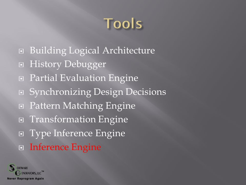  Building Logical Architecture  History Debugger  Partial Evaluation Engine  Synchronizing Design Decisions  Pattern Matching Engine  Transformation Engine  Type Inference Engine  Inference Engine